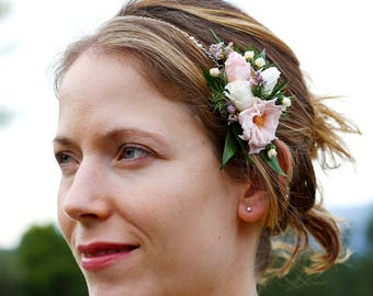 "Headband flower ""Jade"", hair adornment with pearls and Swarovski crystals, gem back and head for the bride, wedding floral headband"