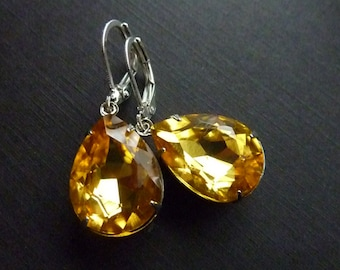 Yellow Topaz Earrings Golden Yellow Earrings Teardrop Drop Crystal Estate Style Earrings November birthstone