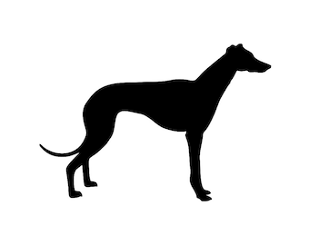 Greyhound Dog Breed Silhouette Custom Die Cut Vinyl Decal Sticker - Choose your Color and Size