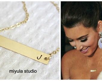 14K Gold Bar Necklace, Kourtney Kardashian Necklace, Gold Initial Necklace, Celebrity Gold Bar Necklace,Everyday Necklace,Hand Stamped