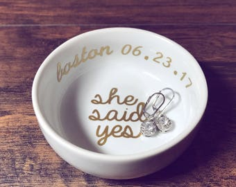 Trending Now - She Said Yes Ring Dish | Personalized Engagement Ring Dish | Bridal Shower Gift | Ring Holder | Engagement Gift