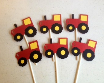 24 Red and Yellow Tractor Cupcake Toppers, John Deere inspired birthday, john deere inspired toppers, tractor birthday