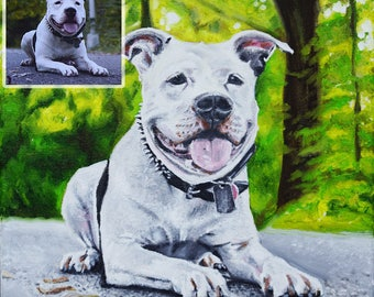 8in x 8in – Custom Pet Portrait Painting from Photo, Dog Painting, Cat Painting, Memorial, Animal Lover Gift, Time-Lapse, Frame Included