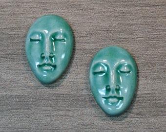 Pair of Two Medium Almond Ceramic Face Stone Cabochons in Seafoam