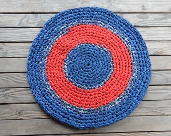 Blue red striped rug cotton crocheted round hand crafted recycled and new materials door mat throw rug bath mat