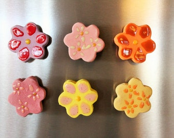 Flower Magnet Set of 6/Pastel Magnets/Easter Decoration/Easter Basket Stuffers/Spring Party Favors/Girl's Birthday Party Favors/Natural Gift