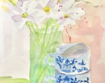 ORIGINAL. White and Yellow Daisies, Pink Carnations, and Blue and White Mugs, Original Watercolor Painting