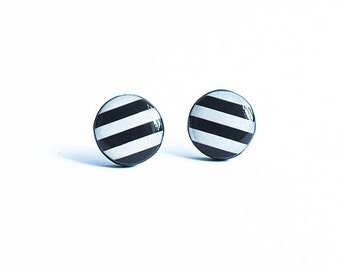 White black stud earrings striped hypoallergenic post earrings