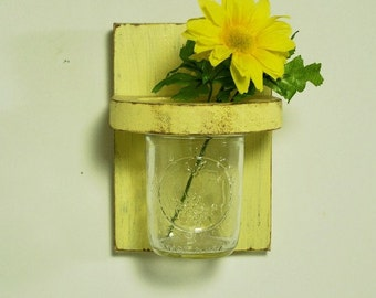 Vintage floral wall vase, sconce, wood, distressed, home organizer, shabby chic, home decor, country style, painted Earthly Yellow