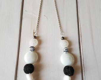 Black and white beaded/chain combo necklace