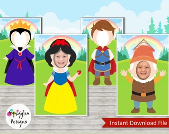 Snow White Photo Booth Props (Includes Snow White, Evil Queen, The Prince & Happy Dwarf) - Digital Files