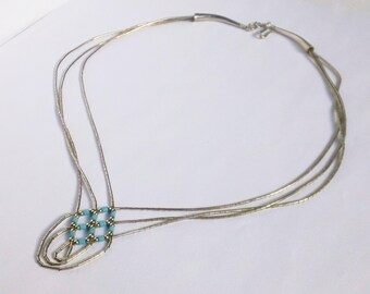 Vintage Native American Navajo Liquid Sterling Silver Turquoise Beads Nulti-Strand Necklace - 16""