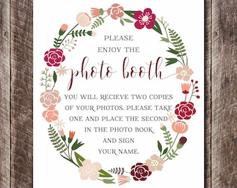 Wedding Photo Booth Printable - Wedding DIY - Wedding Decor - Printable