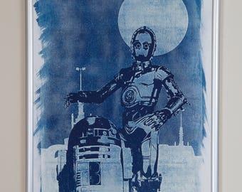 STAR WARS *R2-D2 & C-3PO* CYANOTYPE A4 Star Wars Jedi Lord Vader Skywalker Death Star Galaxy Empire Han Solo Chewie