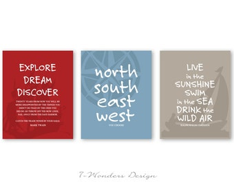 Boys Teens Inspirational Author Quotes Art Prints // Twain, Emerson // Set of (3) 5x7 or 8x10 Red, Blue, Khaki // Nautical Theme - Unframed