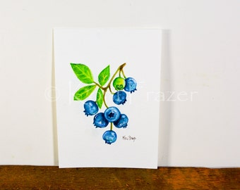 Very berry blueberry, original watercolor painting 5x7, ready to frame
