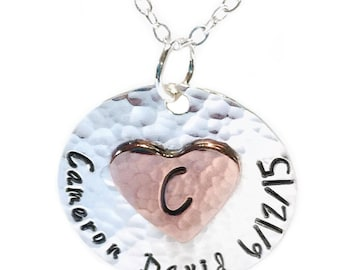 Monogrammed sterling necklace with copper heart, silver message jewelry, heart pendant, engraved initial pendant, mixed metal
