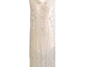 1920s Flapper Dress, 20s Beaded Dress, 1920s Dress, Art Deco, Flapper Wedding Dress