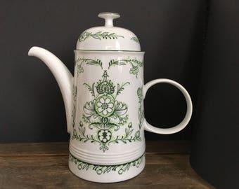 Vintage coffee pot, Melitta Sekunda porcelain Coffee Pot, German porcelain Coffeepot Teapot, Green flower decoration