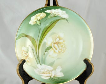 Antique RS Prussia Bowl with Flowers - Green background White Carnations - Cabinet Bowl