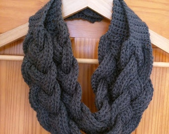 Crochet Double Layered Braided Cowl in Charcoal Grey