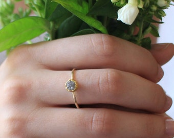 Rough cut diamond ring, rough diamond engagement ring, unique engagement ring for women