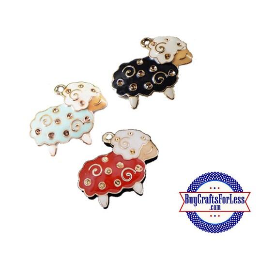 Mini SHEEP Charms, 3 pcs, 3 Colors +Discounts & FREE Shipping*