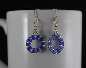 Beaded Purple and Silver Earrings