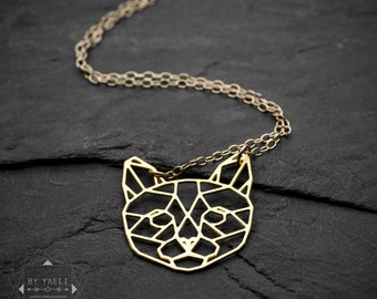 Cat necklace origami necklace cat lover gift geometric necklace minimalist jewelry origami jewelry cat jewelry  gold or silver necklace