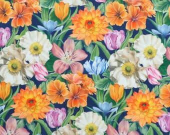 Liberty fabric Tana Lawn Meadow Melody Small - 5''x10'' piece -orange/blue/green - 2018 SS Collection - The Alpine Symphony