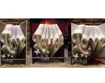Book Folding Pattern 'Live, Love, Laugh' PDF & Tutorial - Immediate Download