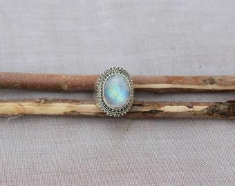 Natural Rainbow Moonstone In Handmade Sterling Silver Ring 925 Sterling Silver Ring