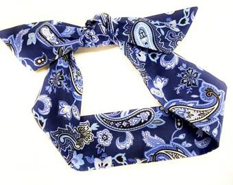 BLUE Paisley Headwrap, Baby bandana, Top Knot,Red Paisley knot headband, photo prop,turban,headband