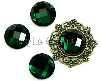 Mirror Glass Cabochon cab 14mm Round Checker Cut Faceted Dome -Emerald- 4pcs