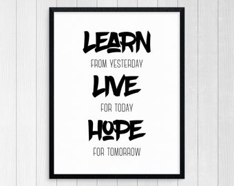 Printable Art Learn Live Hope Typography Art Inspirational Print Wall Art Motivational Print Modern Art Black And White Motivational Quote