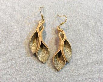 Petal Collection: burnt gold leather petal earrings 2 inch