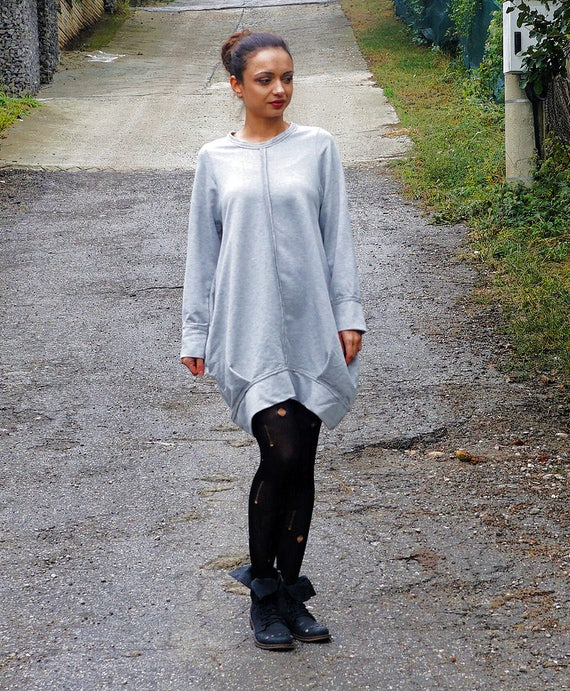 Flattering Asymmetric Gray Dress Tunic, Loose Alternative Dress, Maxi Urban Tunic, Oversized Balloon Tunic, Clubwear