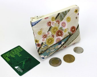floral purse, coin wallet, zippered coin purse, purse travel, purse bag, zipper coin pouch, Chrysanthemum White