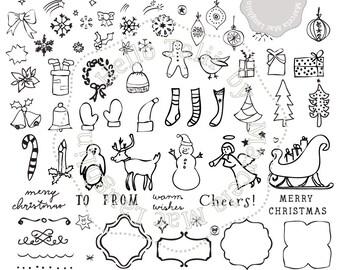 Sale! Kerst Doodles kerst Clipart-75 handgetekende frames sterren sokken sneeuwpop digitale vakantie sleigh bells bomen DIY kerstkaarten
