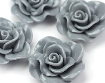 Flower Cabochon Resin Rose 30mm Slate Gray (4) PC336