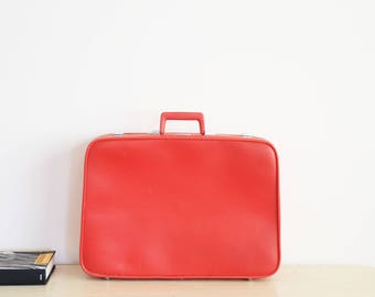 Vintage Luggage Sears Red Soft Suit Case