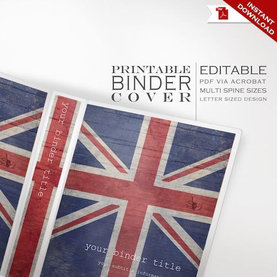 personalized binder cover printable editable britain uk