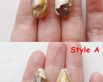 Brecciated Mookaite Half Top drilled Smooth Teardrop Briolettes 10x20 mm One Pair Many pairs to choose from L4027  G7207