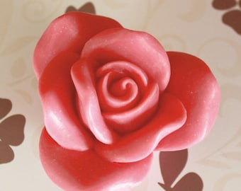 Natural soap of olive oil. Pink shape and gift box. You