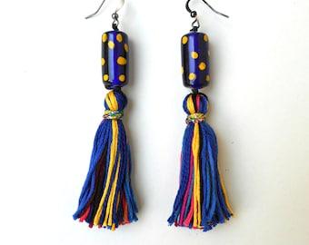 Tassel earrings, Glass bead earrings, Tube glass beads, Polka dot beads, Multicolored tassels, Fashion earrings, Bohemian gift, Trending now