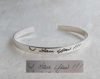Signature Cuff Bracelet,Personalized Open Cuff Bangle,Handwritten Bracelet,Handwritten cuff bangle,Custom Signature Bangle,Christmas Gift
