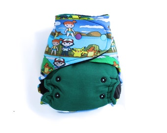 OS Hybrid Fitted Cloth Diaper - Pokemon - Pikacgu - Charmender - Ash Baby shower / gift idea / presents / newborn / photo props