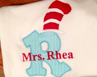 Dr seuss Personalized/ monogrammed School/teacher cat in the hat aphabet letter with personalization