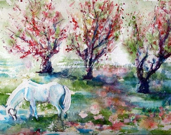 Watercolor Horse Art White - Sugar - in the Apple Orchard Meadow - Nursery Decor Babies Room Art Watercolour giclee 20x26 - Equine Fine Art