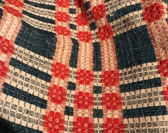 Antique Coverlet * Overshot Coverlet * 1800u0027s * Early American * Americana  * Woven Coverlet *